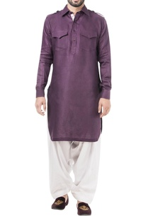 purple-linen-solid-kurta