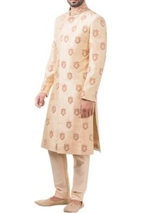 golden-raw-silk-pearl-embroidered-sherwani-with-trousers