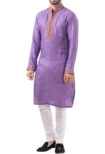 violet-linen-thread-work-classic-kurta-with-jodhpuri-pants