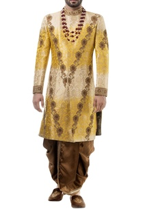 yellow-brocade-zari-work-sherwani-with-dhoti