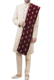 golden-brocade-pearl-work-sherwani-with-trousers