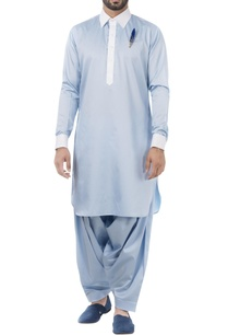 sky-blue-cotton-solid-pathani-kurta-with-salwar