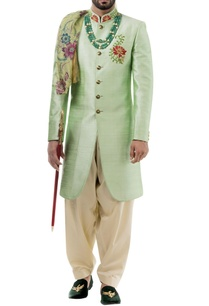 light-green-raw-silk-resham-embroidered-sherwani-with-salwar