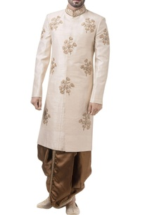 golden-raw-silk-zardozi-sherwani-with-dhoti