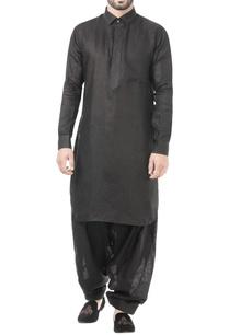 black-linen-thread-work-classic-kurta-with-patiala-pants