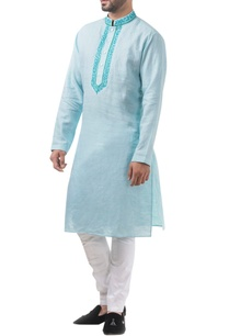 sky-blue-linen-thread-work-classic-kurta-with-jodhpuri-pants