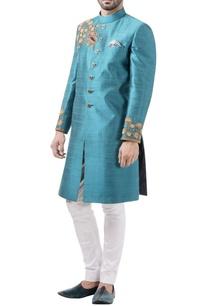 aqua-blue-raw-silk-zardozi-sherwani