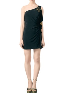 black-jersey-embroidered-short-dress