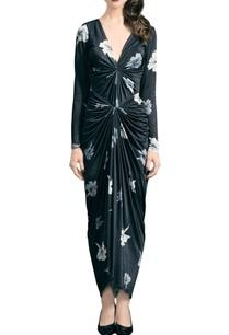black-jersey-floral-print-dress