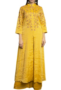 yellow-pure-georgette-tissue-embroidered-pant-set