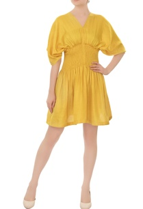 tuscan-sun-yellow-smocked-waist-linen-satin-tea-dress