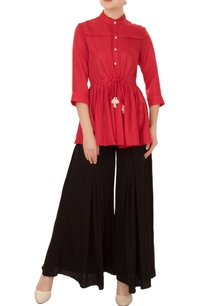 scarlet-red-drop-waist-shirt-with-pleated-layer-tie-up-accents