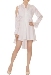 white-cold-shoulder-high-low-dress