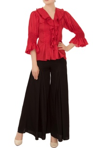 red-ruffle-layer-linen-satin-blouse