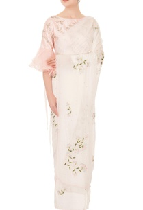 ivory-chiffon-resham-cutdana-work-sari-with-pink-one-shoulder-blouse