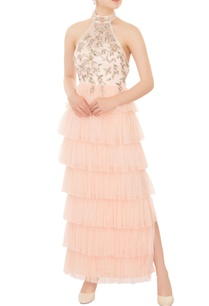 ivory-peach-ruffle-layer-halter-gown