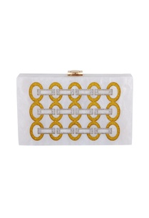gold-silver-acrylic-link-design-clutch-bag