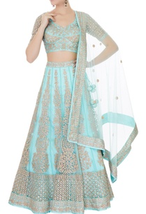 turquoise-blue-satin-net-aari-embroidered-lehenga-with-blouse-dupatta