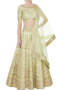 aqua-green-raw-silk-zari-embroidered-lehenga-with-blouse-dupatta