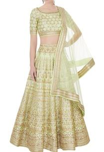 aqua-green-raw-silk-zari-embroidered-lehenga-with-blouse-dupatta