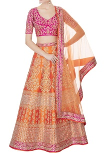 orange-fuschia-raw-silk-zari-embroidered-lehenga-with-blouse-dupatta