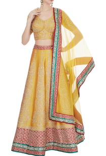 mustard-yellow-red-raw-silk-zari-embroidered-lehenga-with-blouse-dupatta