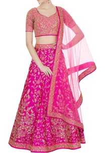 hot-pink-raw-silk-zari-embroidered-lehenga-with-blouse-dupatta