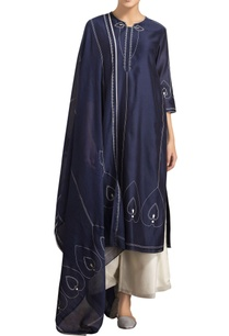 ivory-navy-blue-screen-printed-kurta-set