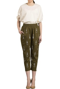 olive-green-poplin-elasticized-cropped-pants