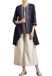 navy-blue-chanderi-dori-work-open-shirt-with-inner