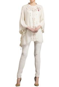ivory-georgette-asymmetric-blouse-with-kaftan-sleeves