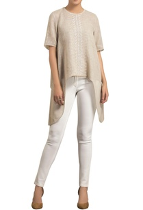 beige-linen-screen-print-embroidered-asymmetric-blouse-with-inner