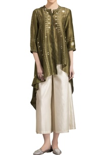 olive-green-chanderi-high-low-shibori-kurta