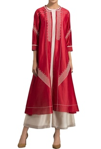 red-chanderi-silk-kurta-set-with-pants
