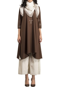brown-poplin-kurta-with-ivory-palazzos-scarf