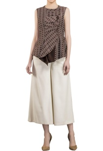 brown-sleeveless-structural-blouse