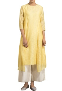 yellow-slub-chanderi-asymmetric-kurta