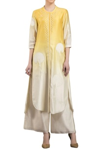 yellow-white-chanderi-ombre-kurta-with-palazzos