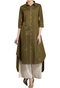 olive-warli-screen-printed-high-low-kurta
