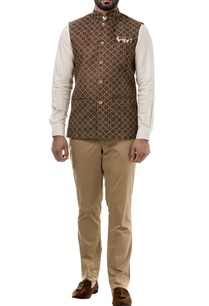 brown-suede-thread-work-nehru-jacket