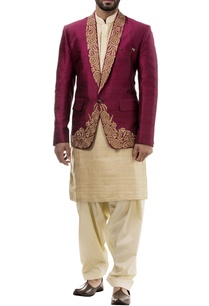 maroon-silk-notched-lapel-jacket-with-kurta-and-salwar