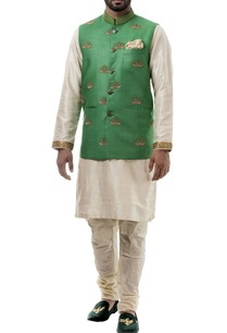green-zari-work-silk-nehru-jacket-set
