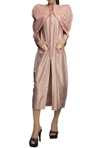 pink-pure-silk-solid-dress-with-thread-detailed-cape