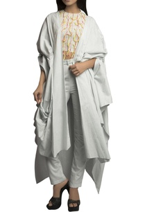 sky-blue-handloom-thread-detailed-pant-set-with-cape