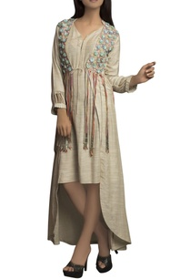 pale-golden-pure-handloom-thread-detailed-dress-with-jacket