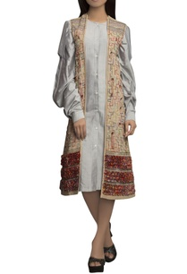 powder-blue-off-white-pure-handloom-thread-detailed-dress-with-jacket