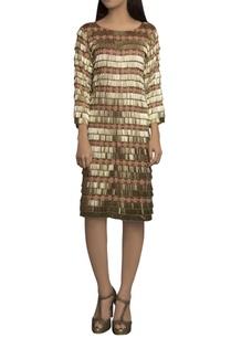 wine-golden-pure-handloom-embellished-short-dress