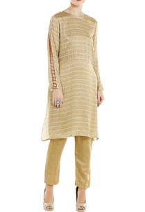 beige-satin-cutout-kurta-with-linen-silk-straight-pants