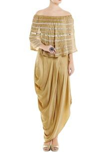 beige-chanderi-off-shoulder-top-skirt