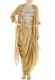 beige-fringe-top-with-cape-dhoti-skirt